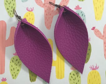 Leather Leaf Earrings: Fuchsia // purple leather // leather leaves // spring jewelry