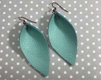 Leather Leaf Earrings: Aqua // turquoise leather // birthday gift // bridesmaid gift