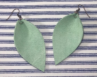 Leather Leaf Earrings: Mint Green// mint green leather earrings // birthday gift// bridesmaid gift