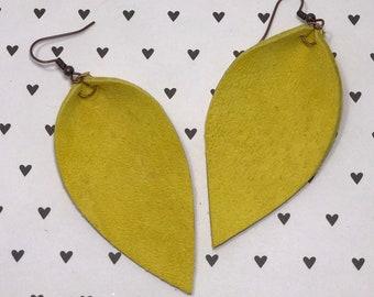 Leather Leaf Earrings: Lemon Yellow// lemon yellow leather earrings // birthday gift// bridesmaid gift