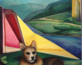 Venus with Dog - large modern original oil painting - Corgi in a abstract geometric colorful landscape with modern architecture