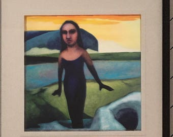 Bluebeards Castle - Limited Edition Unframed Giclee Print of Original Oil Painting woman surprised at sunset with modern geometric landscape
