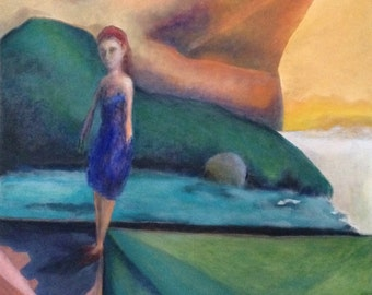 Scenic View, large original oil painting - girl in a landscape with unique perspective and vibrant color