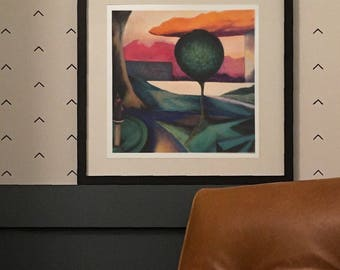 Sunset - Limited Edition Unframed Giclee Print of Original Oil Painting Park scene with a geometric citiscape Modern Abstract Colorful