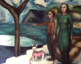 The Park, Winter (Pink Sweater) very large original modern oil painting , 3 figures and a white dog near a frozen lake in a park setting