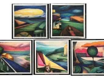 Mixed set of 5 Unframed Giclee Prints of the SpaceTime series of Paintings Modern Abstract Colorful