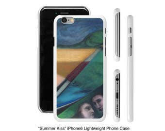 Art Phone Cases - iPhone cases Summer Kiss abstract landscape with couple about to kiss
