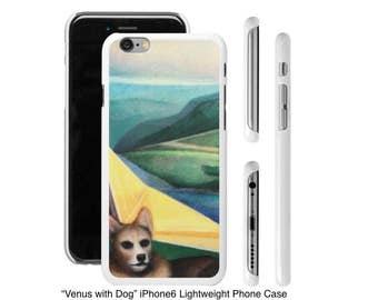 "Art Phone Cases - iPhone and Samsung cases ""Venus with Dog"" Corgi in geometric landscape"