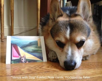 "Art Notecards (Set of 10) - Folded Notecards printed from the original oil painting ""Venus with Dog"", a Corgi in a geometric landscape"