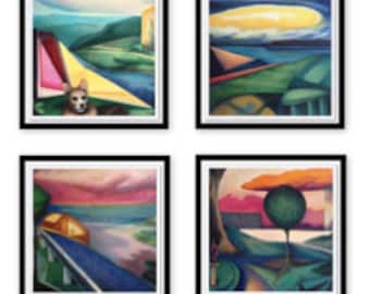 "Set of 4 Framed Giclee Prints of the SpaceTime series of Paintings Modern Abstract Colorful (Frame Options: Floating or 2"" Mat)"