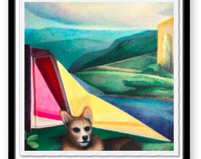 Featured listing image: Venus with Dog - Giclee Print of Original Oil Painting Modern Abstract Colorful