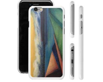 "Art Phone Cases - iPhone and Samsung cases ""Rising"" geometric landscape with moon rising and fog rolling in"