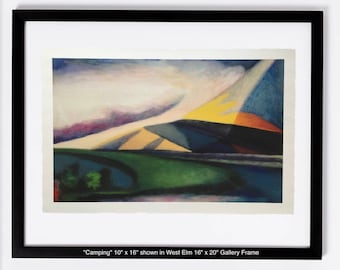 Camping - Limited Edition Unframed Giclee Print of Original Oil Painting camping waking up to cool mountain air