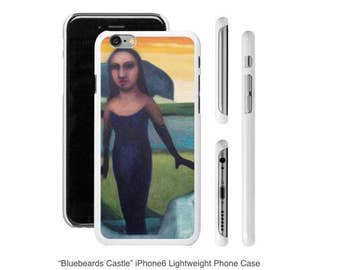 """Art Phone Cases - iPhone and Samsung cases """"Bluebeards Castle"""" Woman in landscape with bright yellow sky"""