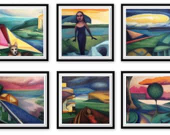 Set of 6 Framed Giclee Prints of the SpaceTime series of Paintings Modern Abstract Colorful