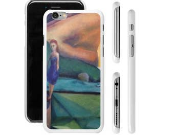 Art Phone Cases - iPhone and Samsung Scenic View girl standing with abstract and geometric background