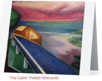 "Art Notecards (Set of 10) - ""The Cabin"" Folded Notecards printed from original oil paintings, Blank inside"
