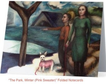 "Art Notecards (Set of 10) - ""The Park, Winter (Pink Sweater)"" Folded Notecards printed from original oil paintings, Blank inside"