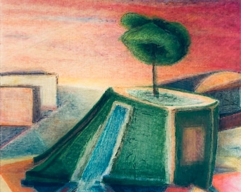 Oasis - large modern original oil painting - Putt-putt course at sunset abstract geometric colorful landscape with modern architecture