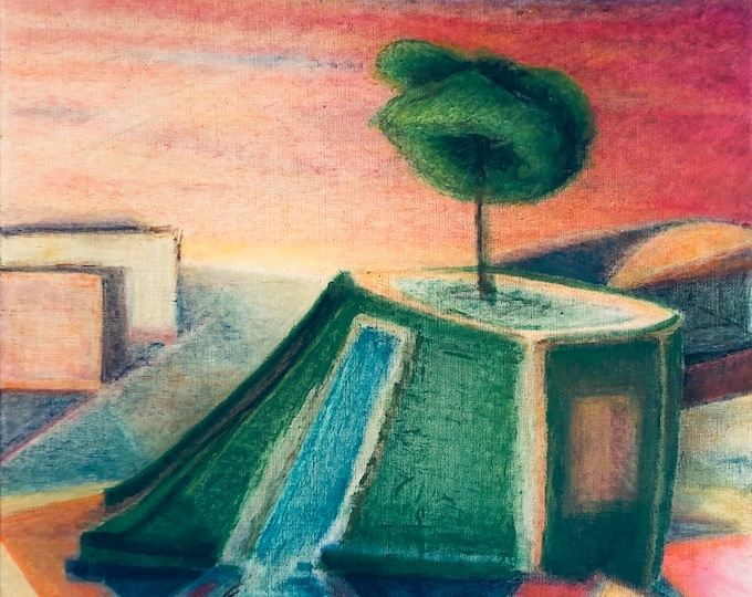 Featured listing image: Oasis - large modern original oil painting - Putt-putt course at sunset abstract geometric colorful landscape with modern architecture