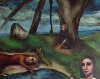 The Park, Fall Modern original oil painting - very large 3 figures in a park setting underneath a tree with unique perspective