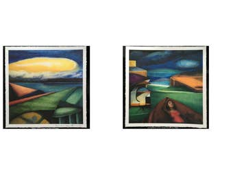 Set of 2 Giclee Unframed Prints of original oil paintings from the Edges, Relational Space or SpaceTime exhibitions Modern Abstract Colorful