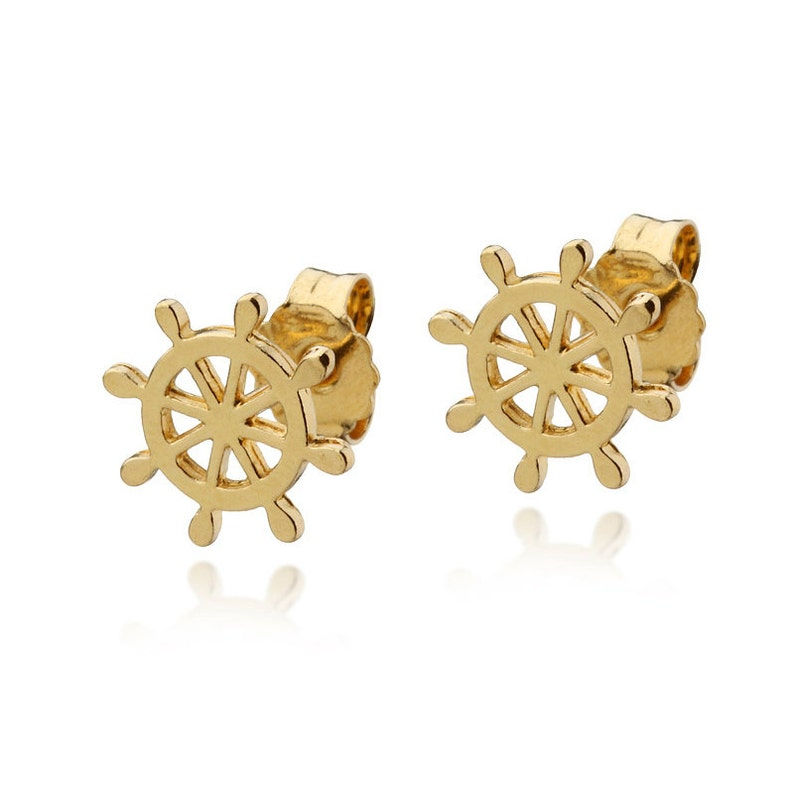 Ship Wheel Stud Earrings 14k Gold Solid Rudder Helm post Earrings Sailor  Boat Nautical Jewelry