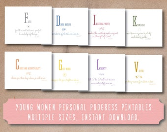 LDS young women values, personal progress values, printable young women values, instant download