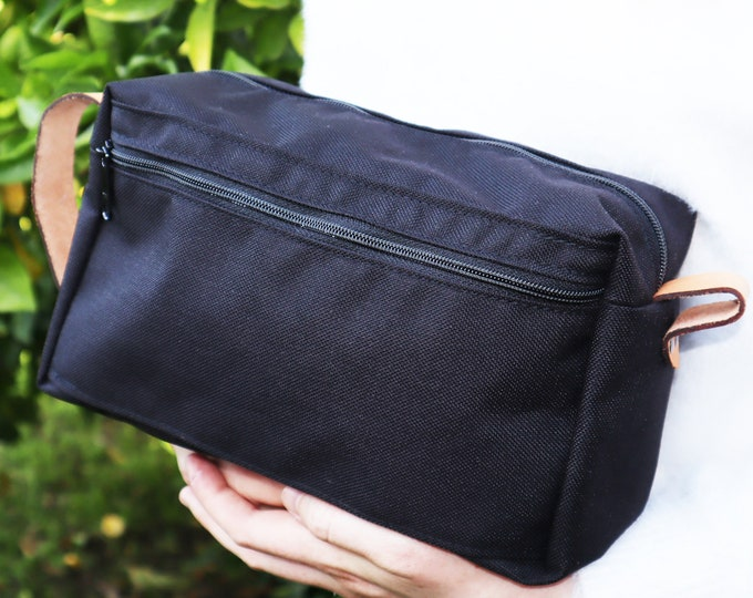 Toiletry Bag with Leather Straps