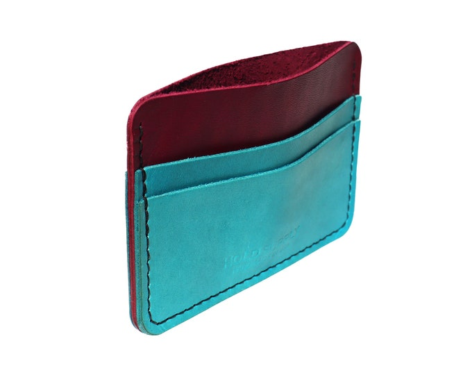 Red and Blue Leather Card Holder Wallet