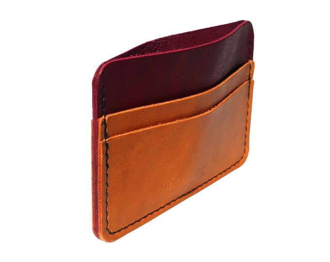 Red and Brown Leather Card Holder Wallet