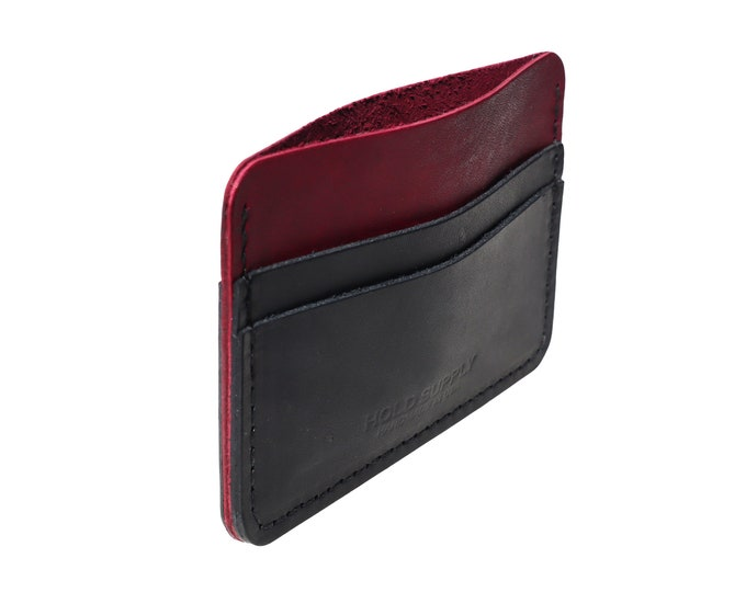 Red and Black Leather Card Holder Wallet
