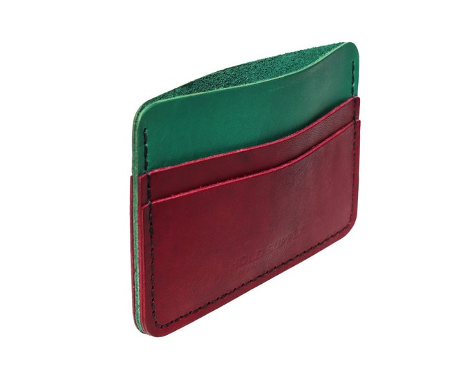 Green and Red Leather Card Holder Wallet
