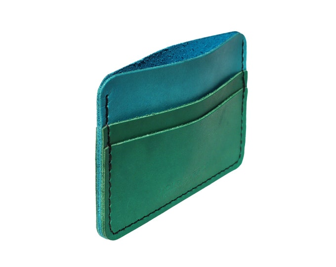 Blue and Green Leather Card Holder Wallet