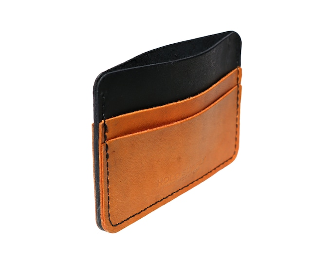 Black and Brown Leather Card Holder Wallet