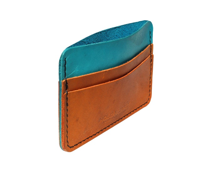 Blue and Brown Leather Card Holder Walle