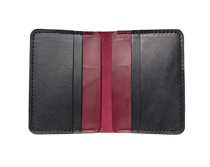 Red & Black Vertical Bifold Wallet
