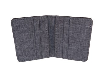 Gray Polyester Vertical Bifold Wallet