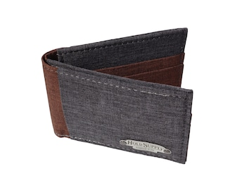 Brown & Gray Polyester Bifold Wallet