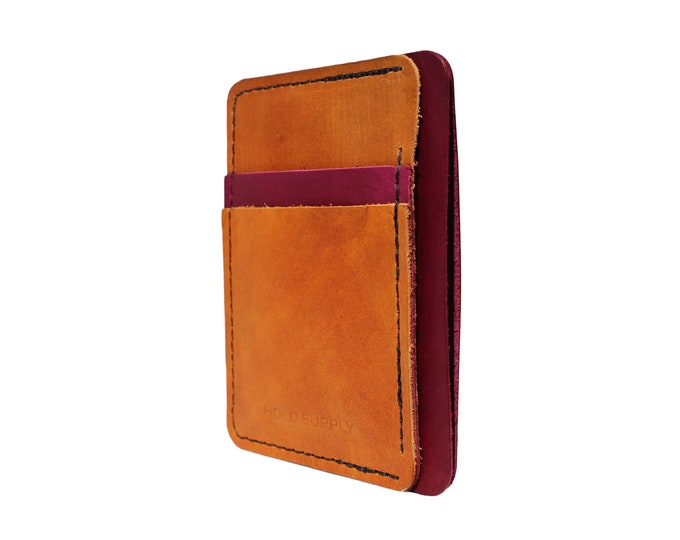 Red and Brown Leather Front Pocket Wallet