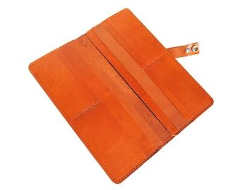 Women's Brown Leather Long Wallet