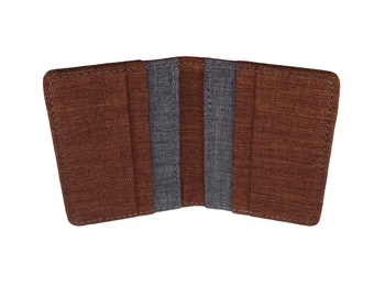 Brown and Gray Polyester Vertical Bifold Wallet