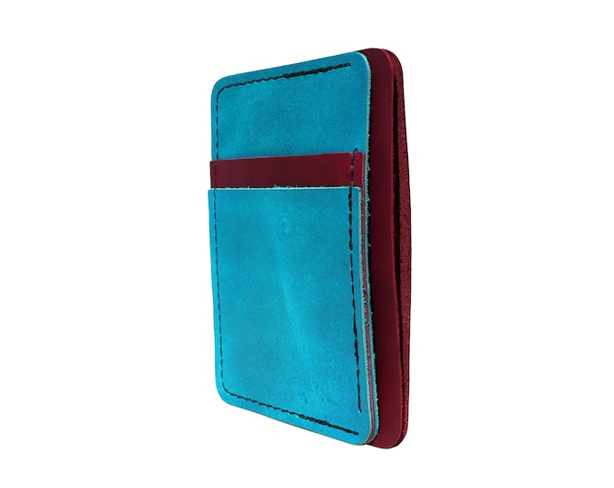 Red and Blue Leather Front Pocket Wallet