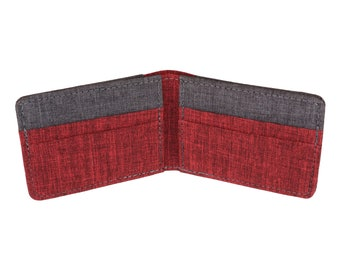 Red & Gray Polyester Bifold Wallet