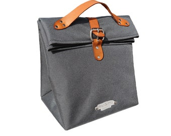 Gray Insulated Fold Top Lunch Bag