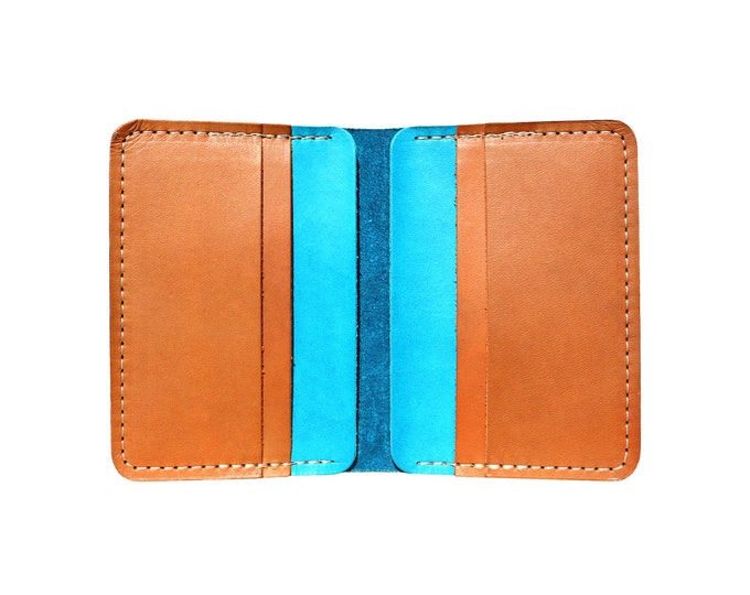 Blue & Brown Vertical Bifold Wallet