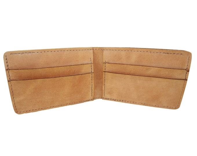 Tan Leather Bi fold Wallet