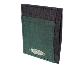 Green and Gray Polyester Front Pocket Wallet