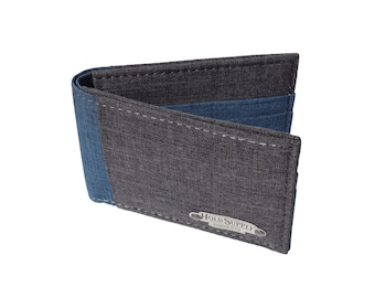 Blue & Gray Polyester Bifold Wallet