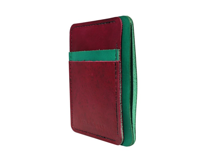 Green and Red Leather Front Pocket Wallet